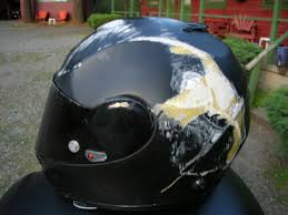 motorcycle helmet broken